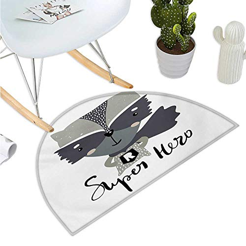Nursery Semicircle Doormat Cartoon Style Raccoon Super Hero with a Costume and Cape Childish Animal Design Entry Door Mat H 27.5
