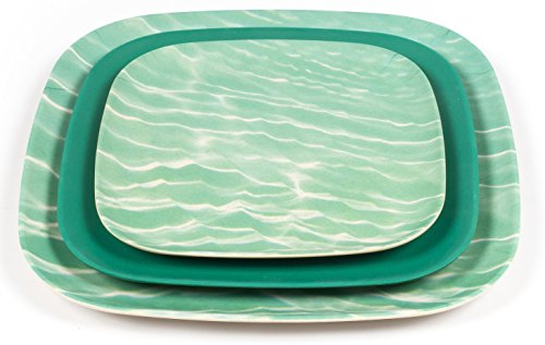 Bamboozle 12-piece Bamboo Place Setting - Service for Four (Ocean Print / Mint Leaf) (Patio Planner Block)