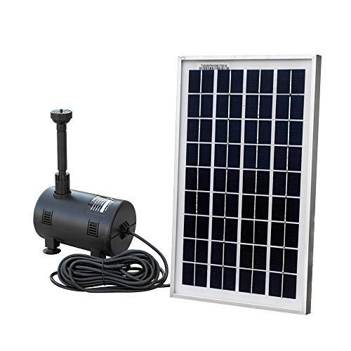 ECO-WORTHY Solar Fountain Pump Kit : Submersible Water Pump and 10 Watt Solar Panel 16.5ft Power Cord for Sun Powered Fountain, Waterfall, Pond Aeration, Hydroponics, Aquarium, Aquaculture