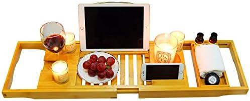 soporte de copas tabletas y m/óvil. Bandeja de ba/ño superior premium bandeja para ba/ñera de bamb/ú-Accesorios de ba/ño libros