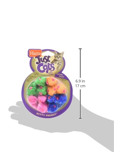 Hartz Just For Cats Kitty Frenzy Catnip Mice Toys - 12 Pack