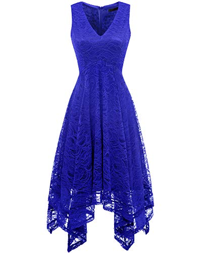 Bridesmay Women's Elegant V-Neck Sleeveless Asymmetrical Handkerchief Hem Floral Lace Cocktail Party DressRoyal Blue M