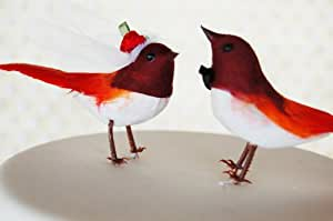 """Flapper Love Birds Cake Topper: Vintage Inspired """"Bride and Groom"""" Love Bird Wedding Cake Topper in Cherry Red and White"""