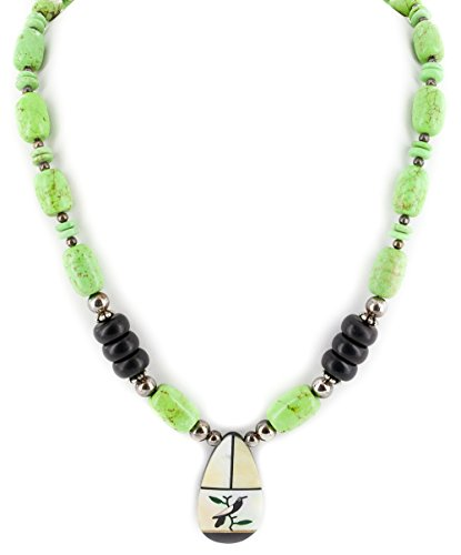 $300Tag Bird Certified Silver Navajo Inlay Graduated MOP Gaspeite Necklace 15213-201 Made by Loma Siiva