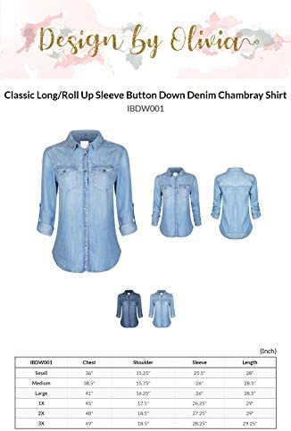 Design by way of Olivia Women's Classic Vintage Long/Roll Up Sleeve Button Down Denim Chambray Shirt