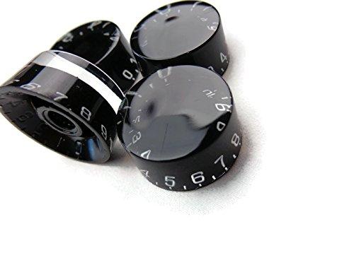 Tone Knob Control (4 Black Control Lp Les Paul Guitar Speed Tone Volume Knob Set)