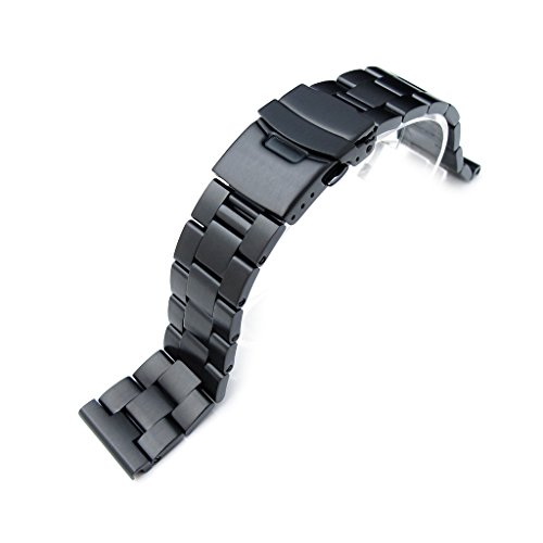 22mm-PVD-Black-316l-Solid-Stainless-Steel-Oyster-Straight-End-Watch-Band