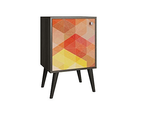 Mendocino 2.0 Catalpa Funky Side Table in a White Frame with a Colorful Stamp Door and Yellow Feet 41g9Tpc9XnL