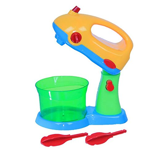 Electric Mighty Mixer Kitchen Toy - Kids Pretend Hand or Stand Beater with Bowl - Makes Mixing Sounds, Detachable Whisks - By Dazzling Toys