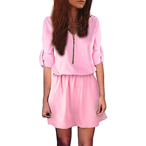 Alimao 2018 Automne Femmes Robe Zip Élastique Taille V Long Cou Tunique À Manches Mini Robe Sexy Solide Casual Rose