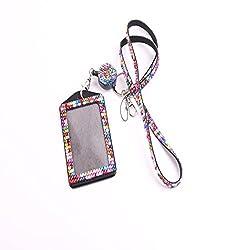 Colorful Rhinestone Crystal Necklace Badge Card Holder