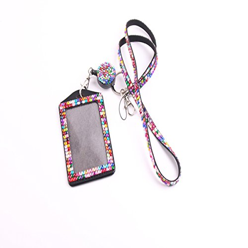 (QIDUN Girl Badge Holder Rhinestone Lanyard Bling Crystal Necklace Badge Card Holder for Business Id/Key/Cell Phone (Colorful))