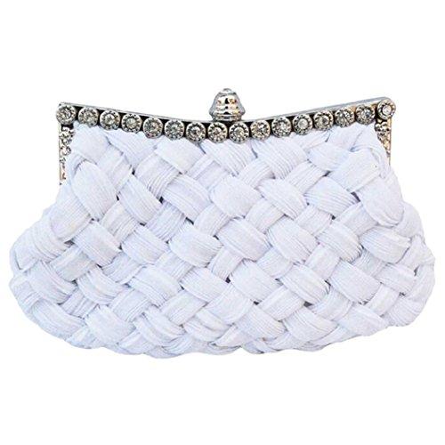 Acamifashion Womens Wedding Bridal Clutch Jeweled Pleated Cocktail Party Handbag - White