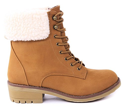 Women Faux Wool Fur Cuff Lace Up Nubuck Combat High Top Ankle Boots