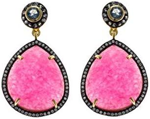 Pendientes de plata chapados en dorado y negro, con piedra rosa, de Salvatore Plata.