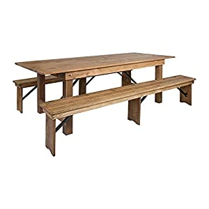 Offex 8' x 40'' Antique Rustic Folding Farm Dining Table and 2 Bench Set