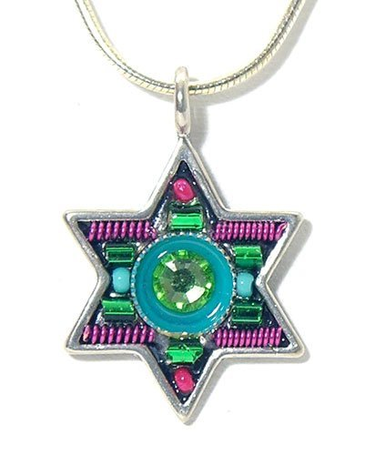 Crytsals Star - Crytsals Star of David Necklace - by Maya Rayten in green Swarovski Crystals, Beads and Coils. Sterling Silver