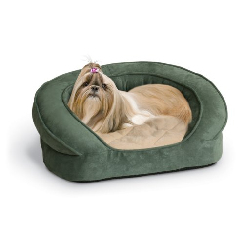 K&H Pet Products Deluxe Ortho Bolster Sleeper Pet Bed Medium Green Paw Print 30