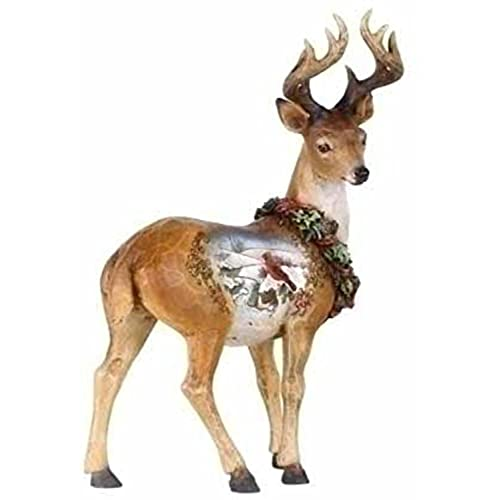 roman 9 josephs studio snowfall valley standing scenic deer christmas figure - Christmas Deer Decor