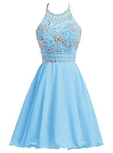 Neck Chiffon Short (Women's Beads Halter Neck Chiffon Prom Dress Short Evening Party Gown Sky Blue US 4)