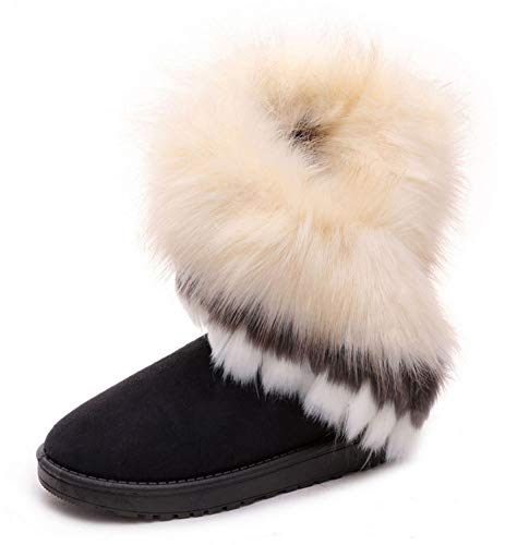 King Ma Women's Faux Fur Tassel Winter Snow Boot Suede Flat Ankle Boots