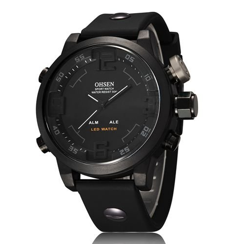 8cd50f6aecd Buy Man s Serie OHSEN Quartz Digital Watch LED Date Day Alarm Sports Watch  Men Rubber Band Waterproof Army Watches Relogio Masculino - Black Online at  Low ...