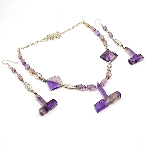 Silvestoo Jaipur Ametrine 925 Sterling Silver Necklace & Earring Set PG-102131
