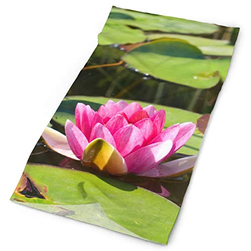 Pink Water Lily Lotus Pond Headwrap Unisex Multifunction Headwear Polyester Quick Dry Soft Headband Neck Scarf,Luxury Headdress Travel Magic Head Scarf Bandana Mask Neck Gaiter For Men Women