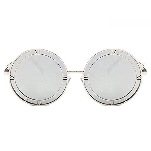 de moda la diseñador diamantes imitación las diseñador de de de Blue sol con para foto grandes gran para redondas marca las de del de romanas de Plata Gafas Gafas estuche la con mujeres tamaño señoras xUaw8xFH