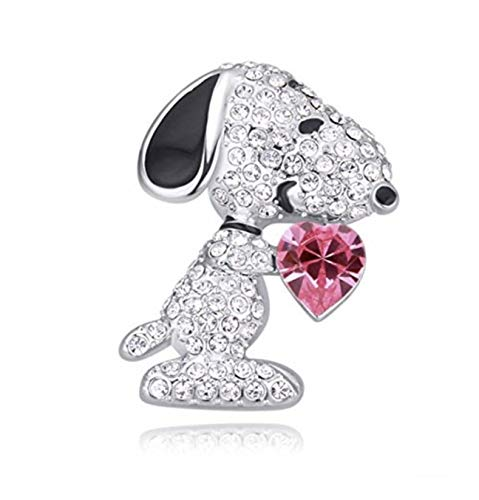 Crystal Snoopy Beagle Dog ROSE Heart Brooch Pin 18K White Gold Plated (Gold 18ct Plate White)