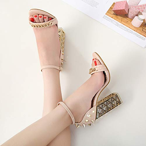 Women's Chunky Heel Sandals,Ladies Summer Ankle Straps High-Heels Open Toe Sandal by Sunskyi (Image #8)