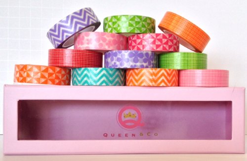 "WASHI Trendy Tape - Various Colors of Plaids, Florals, Geometrics - Set of 12 Rolls 1/2"" x 10 Yards In A Cute Limited Edition Pink Polkadot Storage Box, by Queen & Co."