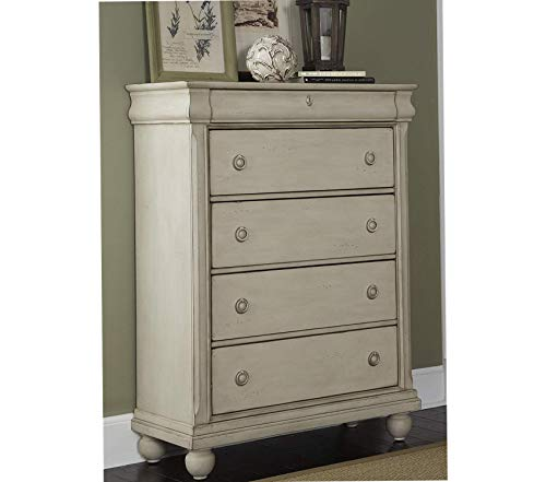 Wood & Style Furniture Traditions II Bedroom 5-Drawer Chest Rustic White Finish Premium Office Home Durable Strong ()