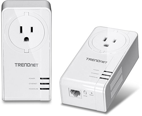 TRENDnet Powerline 1200 AV2 Adapter Kit with Built-in Outlet, 2 x TPL-421E Adapters, Gigabit Port, Plug and Play, MIMO, Beamforming, (Built In Power Adapter)
