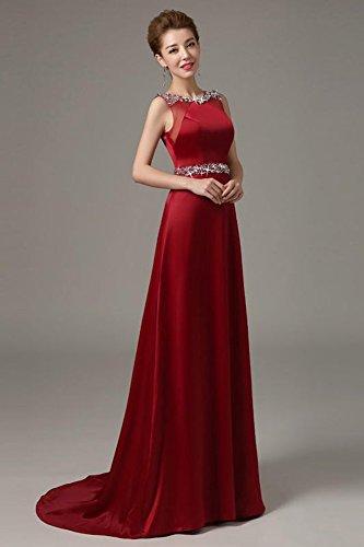 Rhinestones Wedding Long Embellished Drasawee Party Sequins Women's Dress Formal Burgundy qSaFxE4X