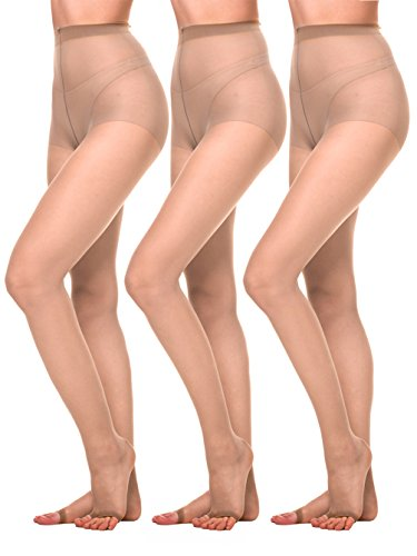 - Amoretu Women Sheer Pantyhose Ultra Soft 12D Open Toe Tights 3 Pairs (Nude, 12D)