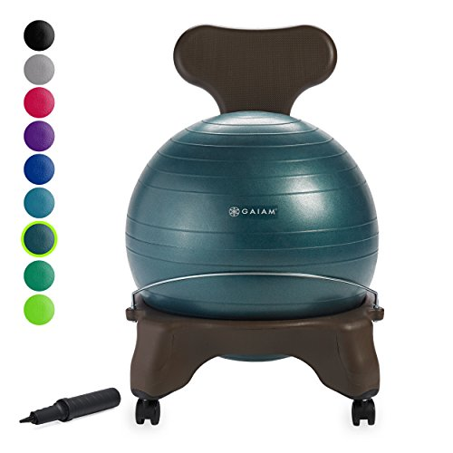 Gaiam Classic Balance Ball Chair - Exercise Stability Yoga Ball Premium Ergonomic Chair for Home and Office Desk with Air Pump, Exercise Guide and Satisfaction Guarantee, Forest