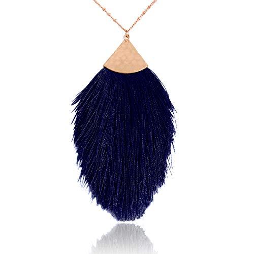 RIAH FASHION Bohemian Fringe Tassel Pendant Statement Necklace - Silky Strand Semi Circle Fan Charm, Teardrop Thread, Freshwater Pearl Charm Long Chain (Petal Tassel - Navy Blue)