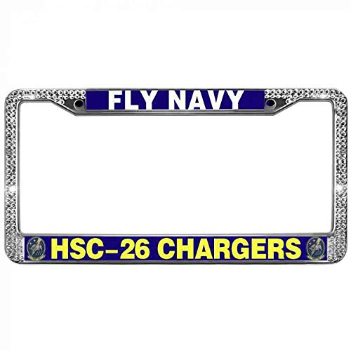 - WangÿCouBing2 Zinc Metal Frame License Plate Frame Shiny White Crystal Crystal License Plate Holder for Standard Size US Car Anti-Theft Screw Cap HSC-26 Chargers Fly Navy Car Licenses Plate Frame