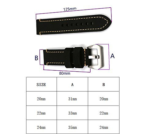 Watch Bands Leather Watch Strap Fashion Men Watch Belt 20mm 22mm 24mm Watch Band Watch Accessories For Traditional Watch Sports Watch Watch or Smart Watch Father Lover's Birthday Gift Gray 22mm Black