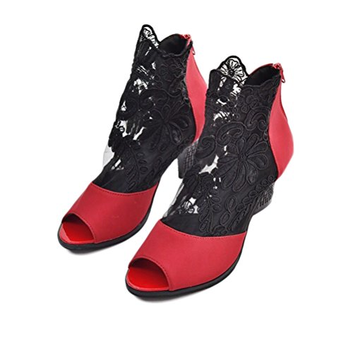 Maille Chaussures Sandales Plates Sexy Peep Sandales Rouge Robe Talon Zipper Back Toe Dentelle Chunky Design FEpEB