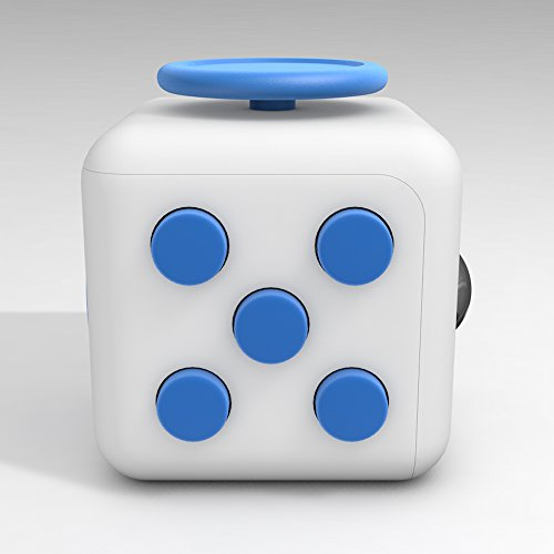 D-JOY Cube [Camo series] Fidget Toy Cube Relieves Stress and Anxiety Attention Toy for Work, Class, Home (White Blue)