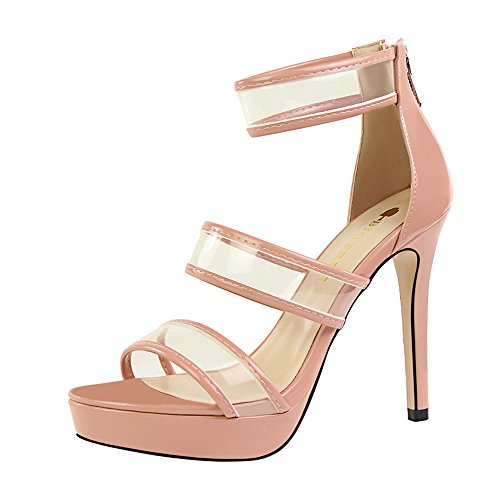 super sandalias Color con alta Moda transparente z desnudo palabra impermeable hueco pedicura tabla amp;dw con CHgZqwxt