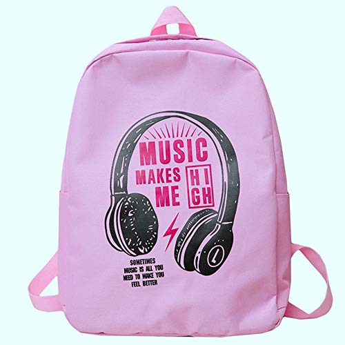 Outdoor Backpack Canvas Pattern Embroidery Large Capacity College Travel Bag Daypack (Pink) ()