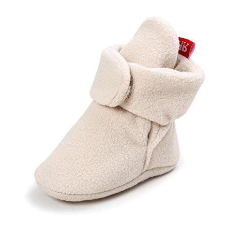 TIMATEGO Baby Boys Girls Cozy Fleece Booties with Non Skid Bottom Infant First Walker Sock Shoes(Khaki,13cm(12-18 Months))