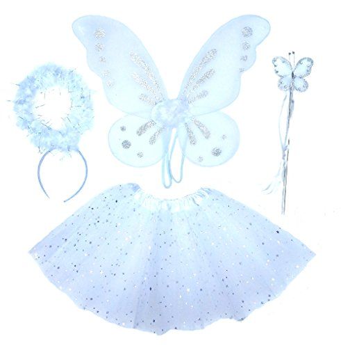 Girls 4 Piece White Angel Fairy with Wings, Butterfly Wand & Halo (Angel Halo Fancy Dress)