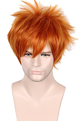 Linfairy Unisex Short Straight Orange Red Cosplay Wig Halloween Costume Full Wig for Men -
