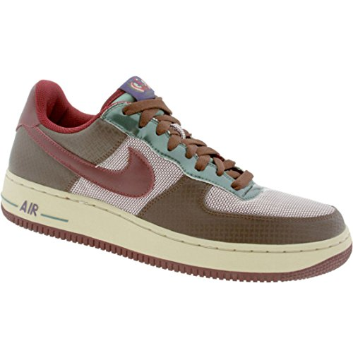 Nike Hombres Air Force 1 Premium Sneakers 313641 Light Chocolate / Team Red-net-green Stone-ink