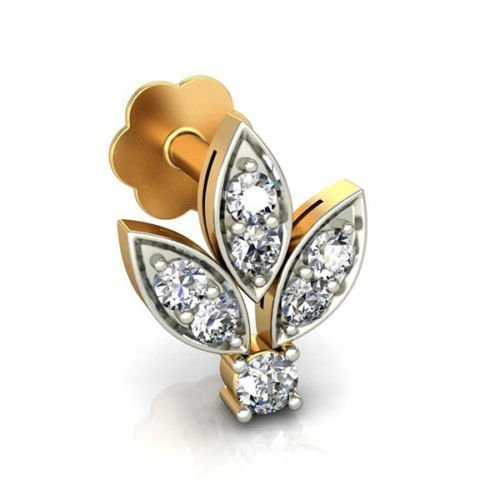 Indian Nose Stud 0.15 Ct Natural Diamond 18K Yellow Gold Piercing Stud