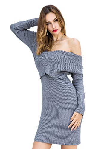 Sexy Slim Celmia Neck Sweater Pullover Grey Wrap Sleeve Mini Womens Long V Knitted Solid Dress 4UqwFv4rx5